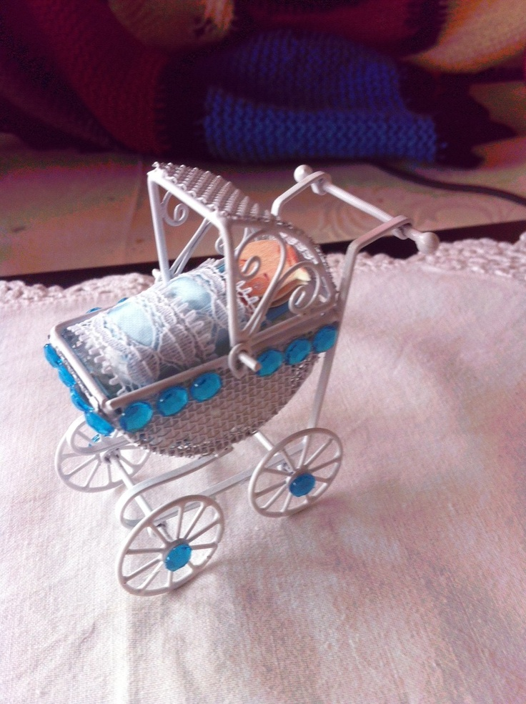 I had this miniature wire framed pram approx 2 inches tall and 2 1/2 wide.  I decided to put a baby paper doll inside complete with blankets and pillows. This is a gift for my 7 yr old   Grandaughter.  I will pin the little girl one as well. Excuse me as new today to pinning.  Season's Greetings & Peace