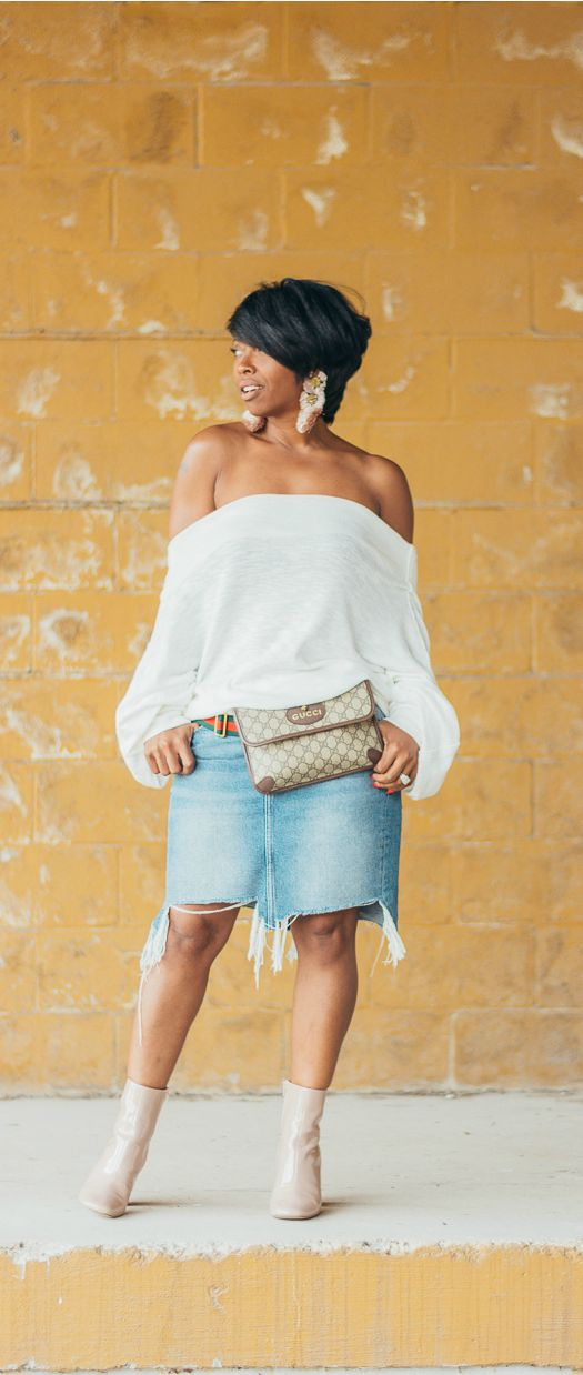 Off the shoulder top, denim skirt, free people, indianapolis fashion blog, sweenee style, black girl fashion, fall outfit idea, gucci belt bag, 2017 fall outfit idea