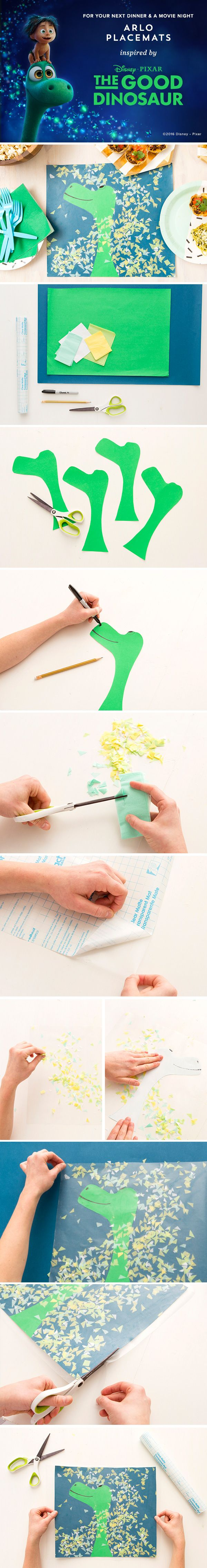 Create Arlo the Dinosaur Placemats 1) Draw+cut Arlo's head. 2) Draw eyes, nose+ mouth 3) Make confetti from tissue paper by folding it + cutting triangles. 4) Cut contact paper to the size of the placemat + peel off the backing. 5) Sprinkle confetti, add Arlo's head, add more confetti. 6) Place the contact paper on blue paper, press out air bubbles. Trim off excess paper. 7) Cut another piece of contact paper, peel off backing + press on placemat to seal. Trim excess contact paper around…