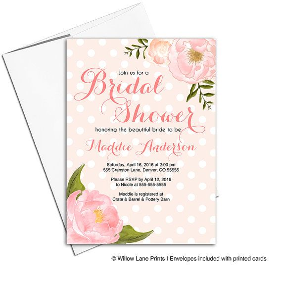 floral bridal shower invitation printable or printed unique wedding shower invitations flowers rustic country wlp00663