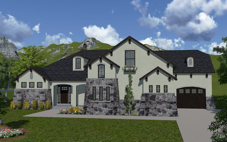 Cecina house plan rambler tuscan style house plan for Rambler style homes