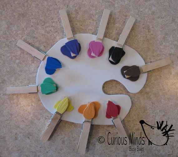 Color Sort Paint Palette Busy Bag   by CuriousMindsBusyBags, $5.00