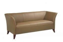 Taupe Leather Sofa with Cherry Finish Legs $608.23