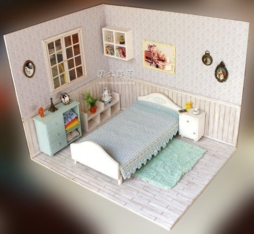 Doll Furniture Blue Bed Room Furniture Accessories Set 1 6 Scales Barbie | eBay