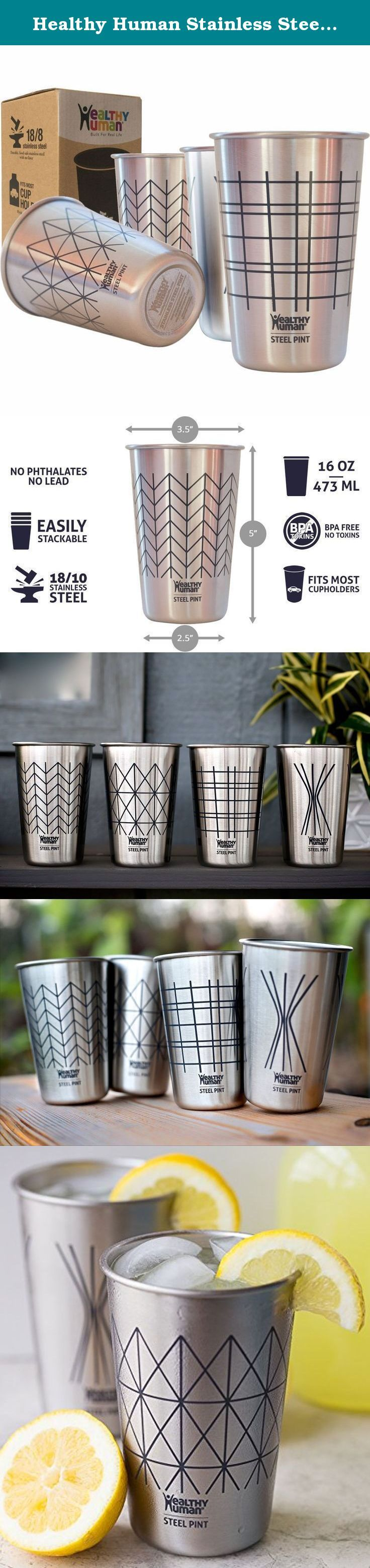 Healthy Human Stainless Steel Cups - 16oz (4 Pack) Ideal Beer Pints, Iced Tea Tumblers, Wine & Water Mugs, Camping Cup - Bar Set. - Line Style. Healthy Human Stainless Steel Pint Cups (Set of 4) 16oz, Safe Toxic Free, Reusable, Recyclable, Stackable, Perfect for Travel and at Home - Lines Healthy Human designs and creates safe, reusable and durable everyday products that make being a Healthy Human Easy & Fun! These cups are perfect for a refreshing drink of water, fresh juice, iced brewed...