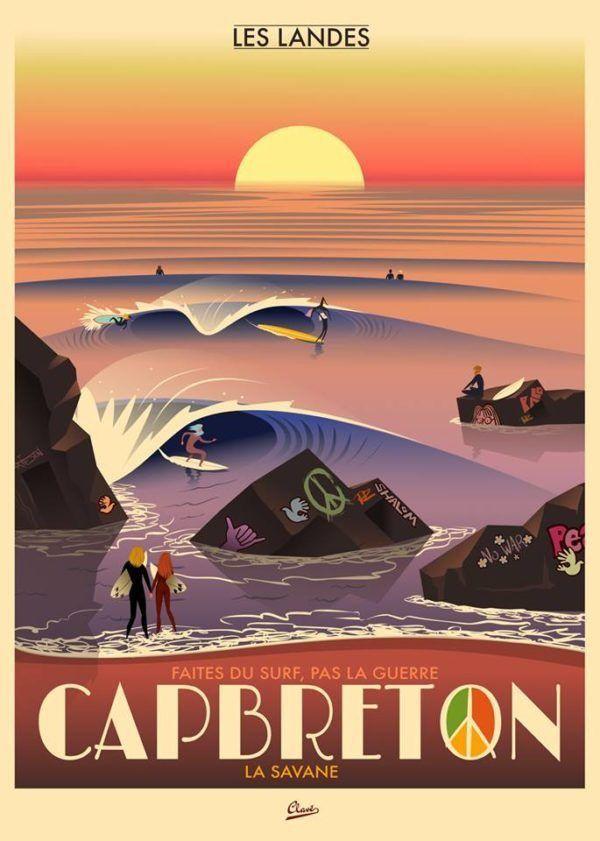 Cap Breton France Damien Clave Surf Poster Surf Art Surfing Pictures