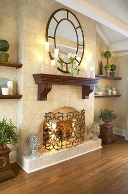 Mirror Over Fireplace Mantel love the colors and smooth stone