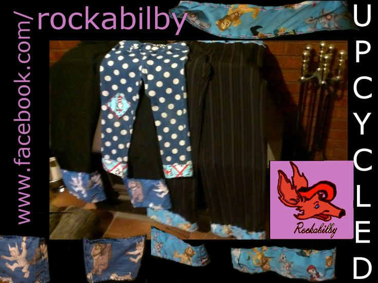 Pinstripes and Polka Dots Literary Characters Upcycled Pants by Rockabilby Custom Orders Welcome www.facebook.com/rockabilby