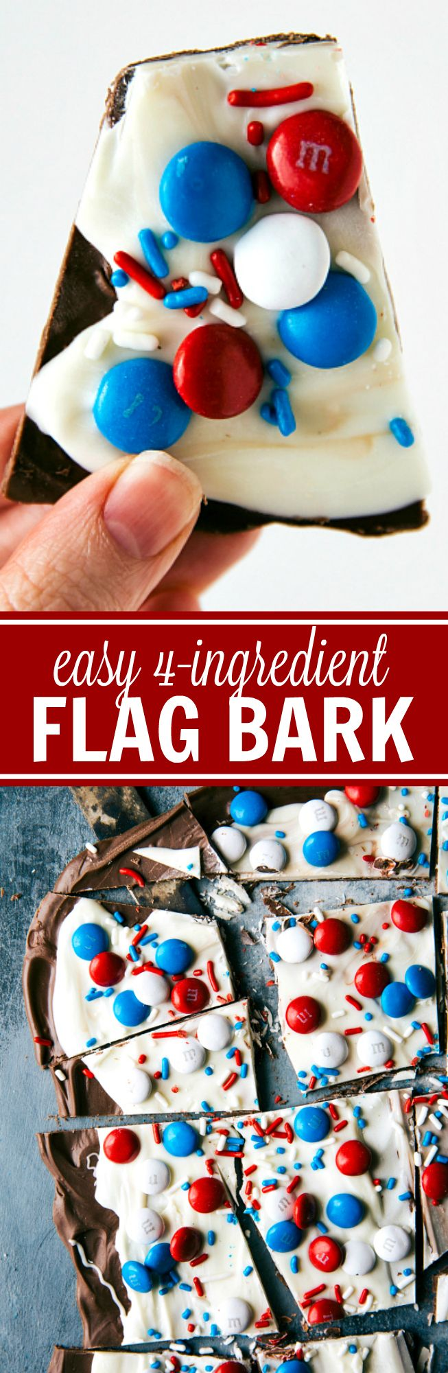 FOUR INGREDIENT Patriotic Fourth of July or Memorial Day Treat! Flag bark made with only 4 easy ingredients. This bark is no bake, quick to assemble, and kid friendly! Recipe is from chelseasmessyapron.com