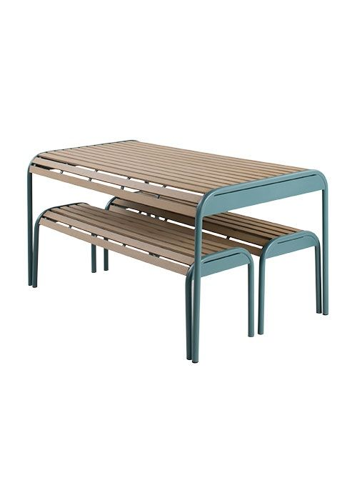 The Mead Bench Set, in Graphite Blue. A sustainable table, made with sturdy recycled polywood. £499. MADE.COM