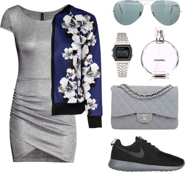 Grey with a touch of deep blue by lisabonafide featuring a mini dress