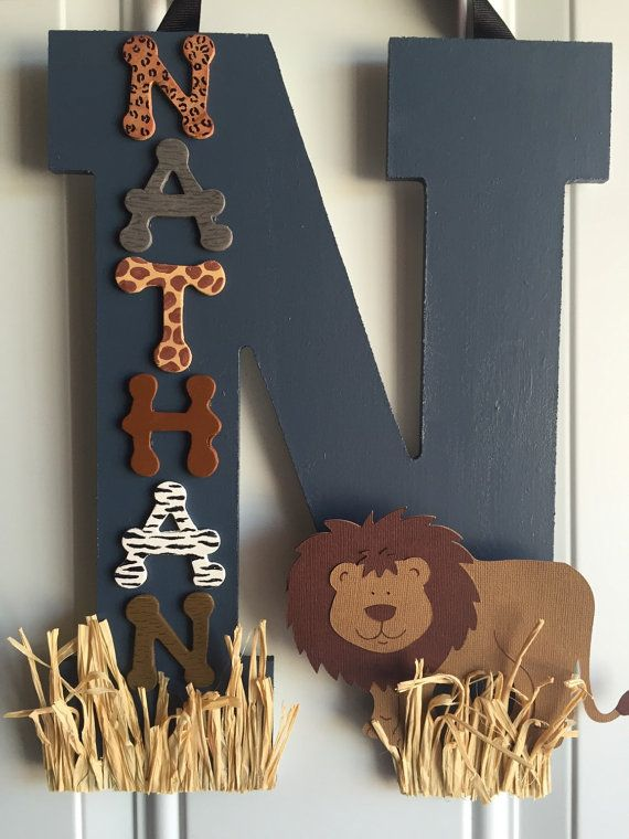 These wooden letters are customized to your needs, and in the case of these wood initials they are all about taking a safari! Whether you are in the market for boy or girl safari décor, children's room décor, or just a set of wooden letters with a safari theme, KidMuralsByDanaR will create something special just for you!  All of my safari initials are created using a combination of high quality wood, acrylic and spray paints, and card stock for embellishments. Ribbon is included. If you are…