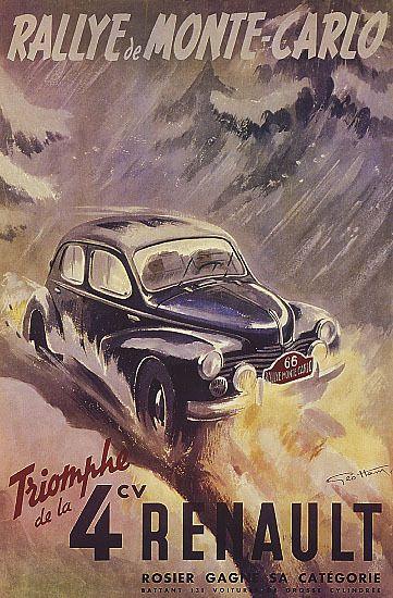 Rally Monte Carlo Monaco Triumph Of The 4cv Renault Car Vintage Poster Repro Vintage Racing Poster Racing Posters Vintage Posters
