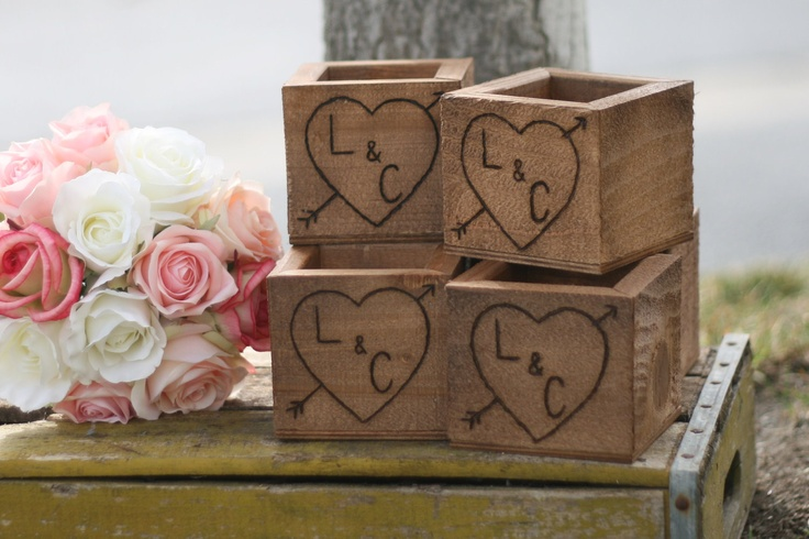 Rustic wedding wood planter vases barn wood centerpieces for Wood vases for centerpieces