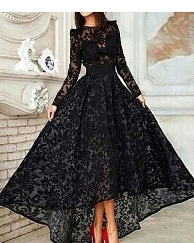 New Vintage Black Lace With Long Sleeves Modest High Low Elegant Formal Evening Party Prom Dresses. PD210450