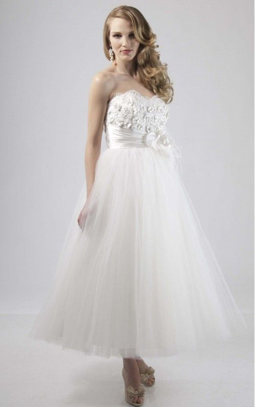 Graceful Ankle-length Zipper A-ine Strapless Natural Bridal Gown