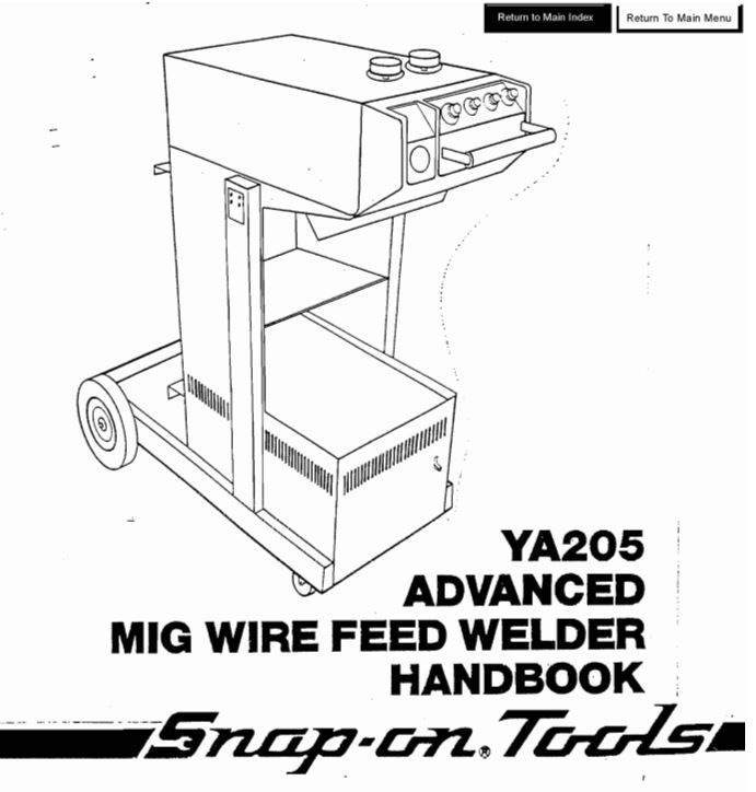 SNAP-ON YA205 117-012 OWNERS AND PARTS MANUAL - Miller Welder Sales