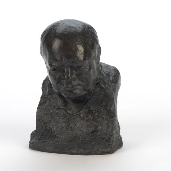 Reproduction of a bust originally sculpted in the 1950s by Oscar Nemon, who was the only artist allowed to sculpt Churchill from life.