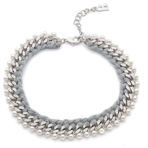 Collana in bronzo con lamè e perle Swarovski bianche