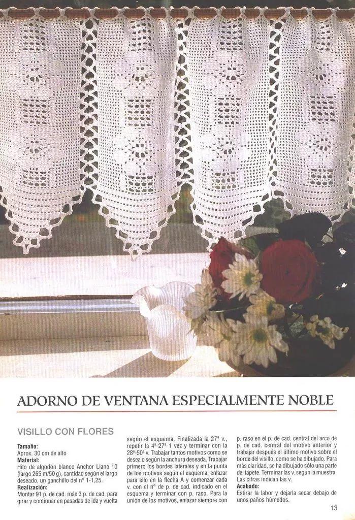 Mejores 20 imágenes de Cortinas ganchillo en Pinterest   Cortinas de ...