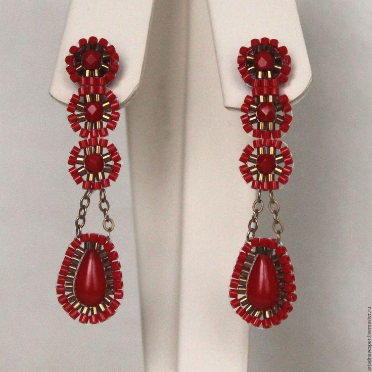 Купить Яркие красные серьги 3 - ярко-красный, яркие серьги, серьги ручной работы