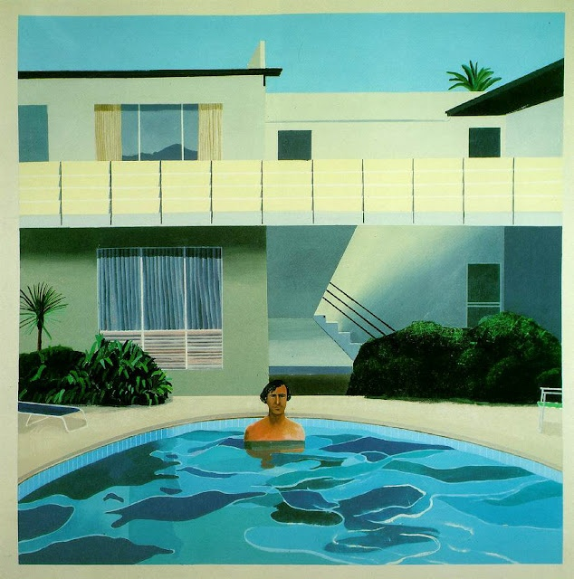 "David Hockney is a British artist, with a long career most firmly segmented into the Pop-Art category. This collection of work was inspired by his move to California in the mid-60's: Lawns, swimming pools, naked dudes.  This one is entitled ""Nick Wilder,"" 1966"