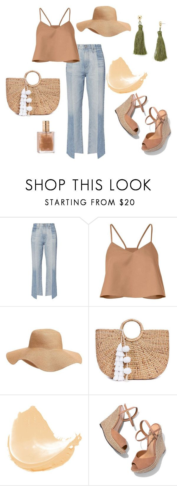 """""""summer outfit"""" by trinh131096 on Polyvore featuring mode, AG Adriano Goldschmied, TIBI, Old Navy, JADE TRIBE, Schutz et Aqua"""