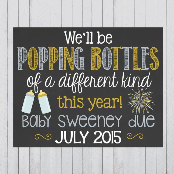 New Years Themed Pregnancy Announcement Chalkboard Poster // Pregnancy Reveal Photo Prop Chalk Board // New Year // Funny // Popping Bottles by PersonalizedChalk