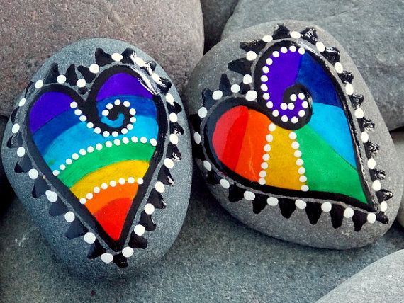 Bemalte Steine/Herz Muster <3