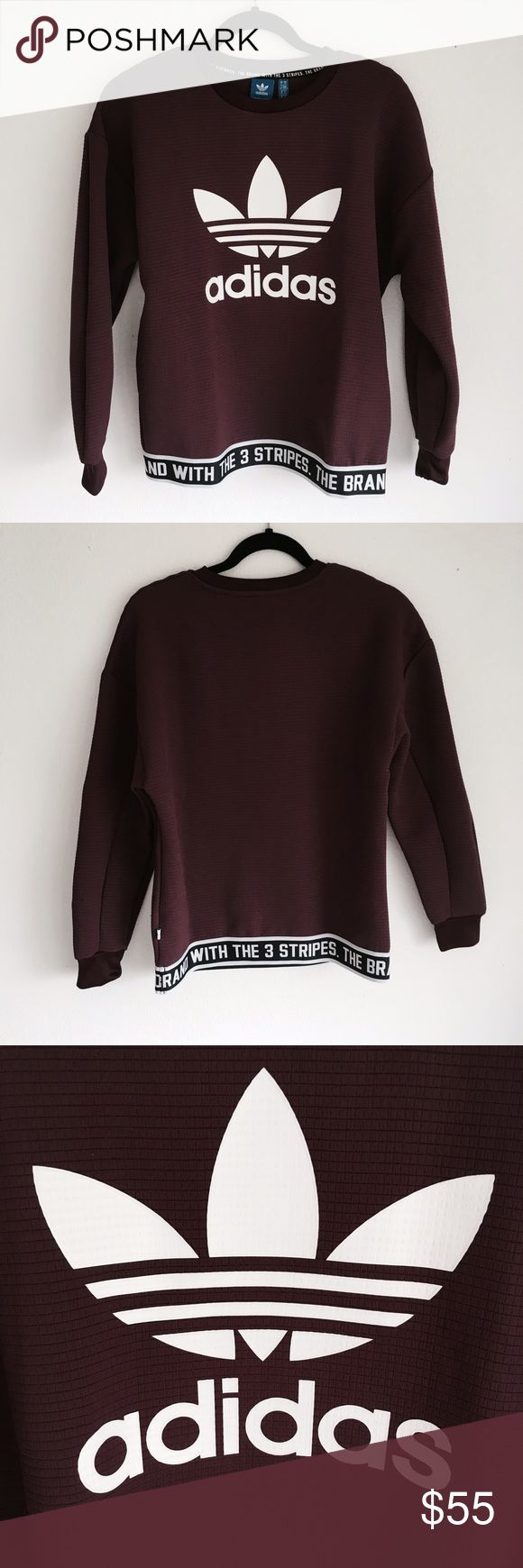 Adidas Trefoil Maroon Sweater Adidas Trefoil Maroon Sweater. Size xsmall. New with tags, no flaws. Adidas Sweaters