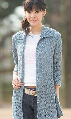 Tunisian Crochet Jacket - free pattern here: http://gosyo.co.jp/english/pattern/eHTML/ePDF/1109/2w3w4w/26-26_Tunisian_Crochet_Jacket.pdf