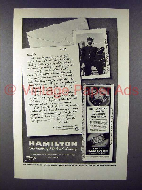 1945 Hamilton Watch Ad - Navy Sailor WWII