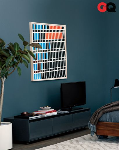 Fix that with a fresh coat of color, something dark and a little sinister, like Farrow & Ball's cobalt-tinged Down Pipe No. 26    Read More http://www.gq.com/how-to/rest-of-your-life/201303/best-mens-bedroom-interior-design#ixzz2MS7rGF1C
