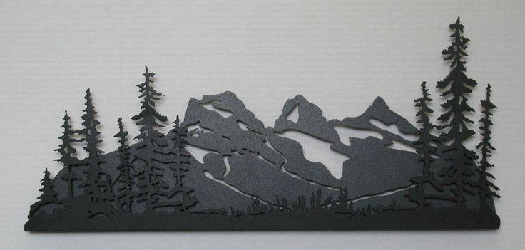 Three Sisters Mountain + Trees - Jim`s Metal Art