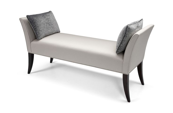 Soft sweeping lines and elegant curves define the chic Goya bench. Attractive piping detail, show wood legs and two plump arm cushions complement the slender design. Equally at home in the bedroom or lounge, Goya is available in any size.