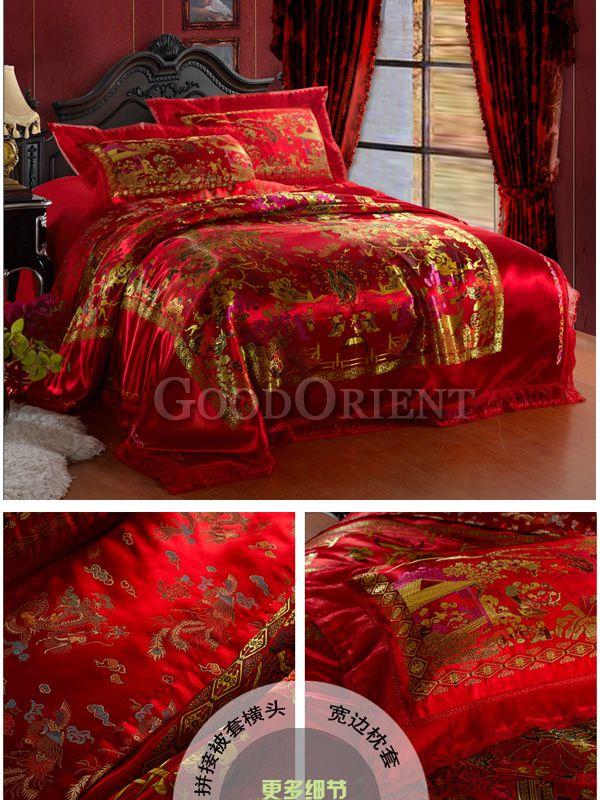 China Red Wedding Bedding Set Simple Bedroom Design Wedding Bed Asian Home Decor