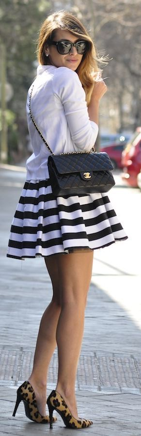 Capriche Alicante Black And White Striped Dress by Necklace Of Pearls