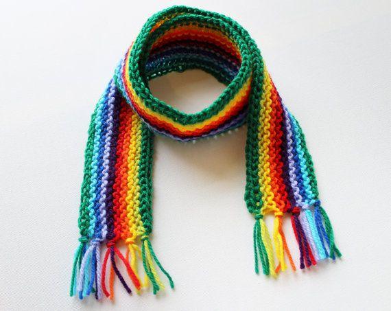 Зеленая Радуга Пикси шарф - Радуга Чайлдс шарф - яркие зимние шарфы для детей