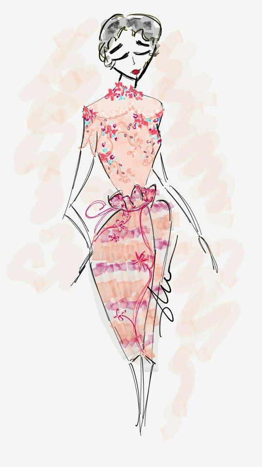 Modern peach and pink kebaya by Adzani A Ameridyani // sketch / indonesia  / fashiondesign