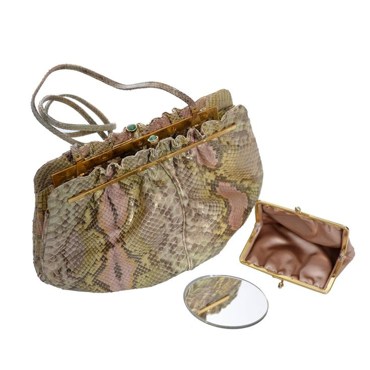 Judith Leiber Vintage Python Snakeskin Handbag Jeweled Clasp Coin Purse Mirror | From a collection of rare vintage shoulder bags at https://www.1stdibs.com/fashion/handbags-purses-bags/shoulder-bags/