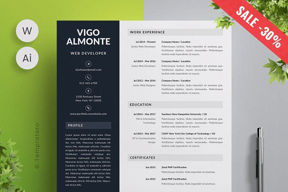 Vigo - Resume Template -  Vigo - Resume Template -30% + FREE Cover Letter! SALE ENDS: 3 JULY  With this modern, eye-catching template you will show your experience and skills in a creative way. It's easy to modify! Customize text, images, icons and colors to your needs. Vigo is multipurpose, created for any profession. So don't wait, increase your chances of getting the job you really want! @creativework247