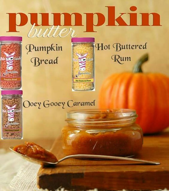 Smells like Fall! Pumpkin Butter Pink Zebra Sprinkles Recipe. Warm in our Simmering Lights or for traditional candle flame in our Glimmer Glass with wicks. CLICK TO ORDER This recipe: