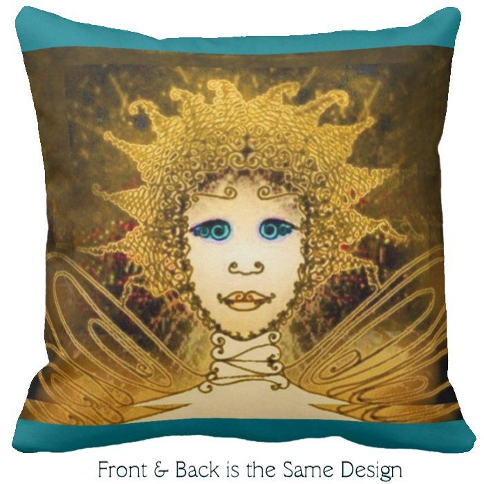 Throw Pillow with Golden Art Déco Style Fairy with Turquoise Accents