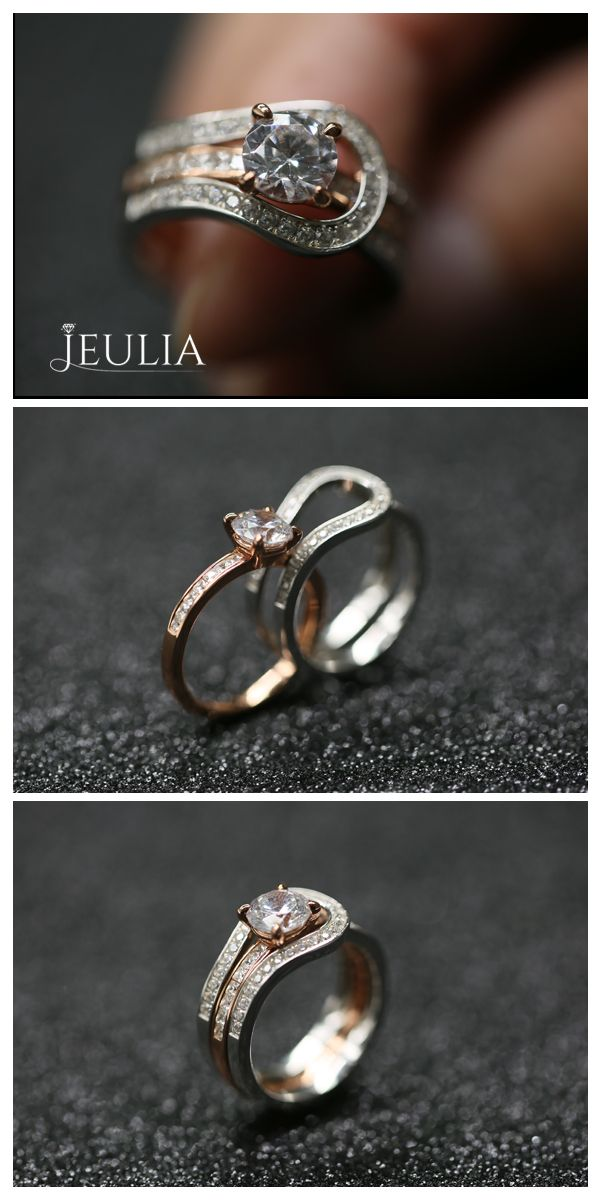 Herakles Two Tone Round Cut White Sapphire Enhancer Wedding Set #Jeulia