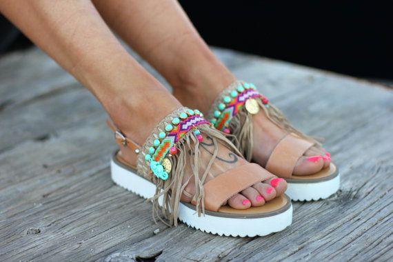 "Sandalias Boho, hecho a mano, sandalias de cuero, sandalias ""Malibu"""