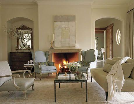 Bone WhiteBlue Rooms, White Living, Living Rooms, Chairs, Bones, Interiors Design, Paintings Color, Benjamin Moore, Decor Blog