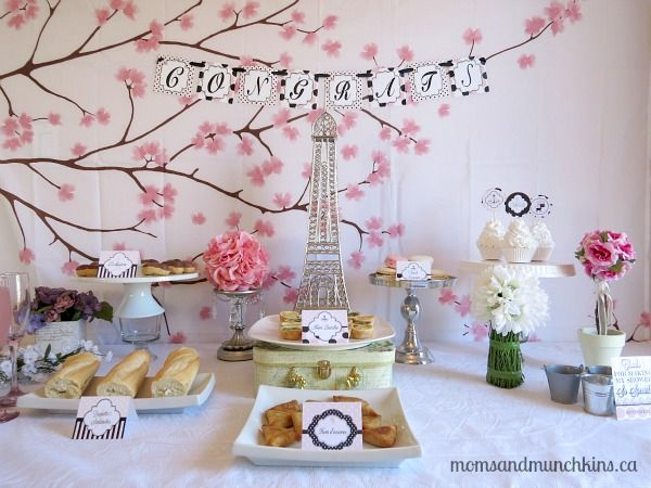 Paris Bridal Shower -  any type of hor d'oeuvres baguette sandwiches mini quiche chocolate eclairs petite cupcakes French macaroon cookies strawberry champagne pink lemonade