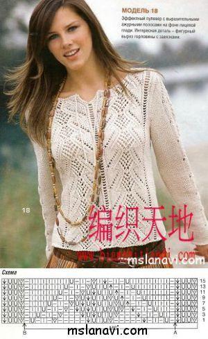 Нежный ажурный пуловер | Вяжем с Ланой | Спицы - Изделия - Джемперы, Пуловеры, Свитера | Постила