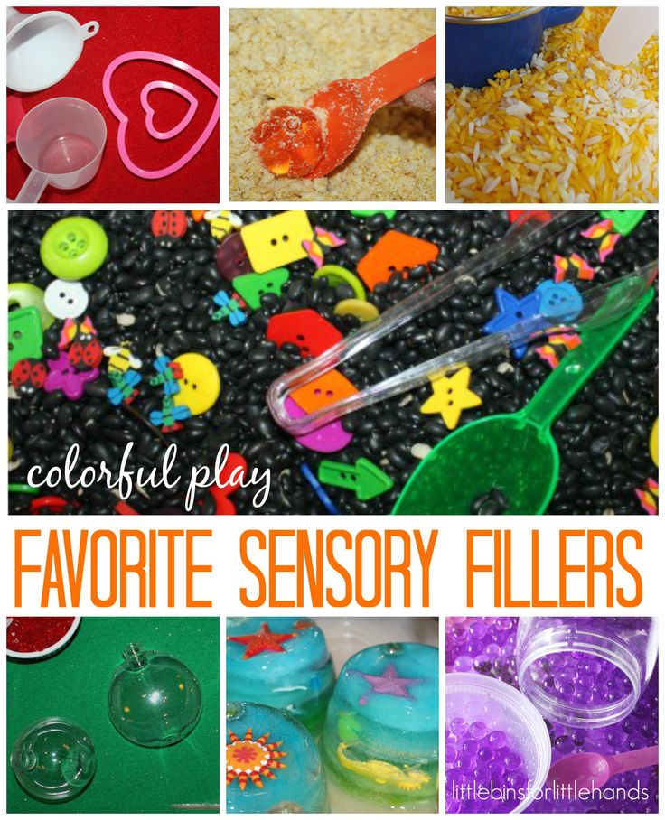 Our favorite sensory bin fillers for sensory play any day. Make sensory bins with this list of ideas! Easy sensory bin ideas for early childhood development