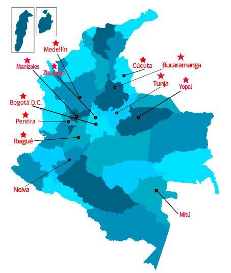 Para obtener información en la ciudad que te encuentres haz click en el mapa o en el nombre de la ciudad.